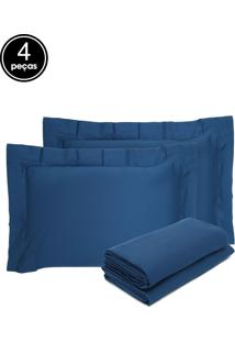 Jogo De Cama 4Pçs King Buddemeyer Budd Vision New Color 200 Fios Azul