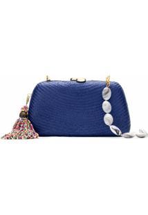 Serpui Bolsa Clutch De Palha - Azul