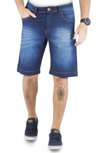 Bermuda Klass Jeans Bolso Antifurto Amaciada C/ Bigode Used - Masculino
