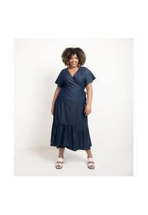 Vestido Jeans Midi Com Transpasse E Amarração Curve & Plus Size Azul