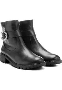 Bota Couro Biker Shoestock Fivela Feminina - Feminino-Preto