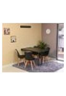 Conjunto De Mesa Dobrável Retrátil 120 X 75 Preta + 4 Cadeiras Leda - Preta