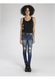 Calça Jeans Amapô Rocker One Feminina - Feminino-Azul Escuro