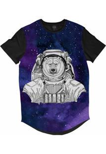 Camiseta Longline Insane 10 Animal Astronauta Urso Polar No Espaço Sublimada Cinza