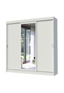 Guarda-Roupa Casal Madesa Istambul 3 Portas De Correr Com Espelho 3 Gavetas Branco Branco