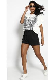 "Camiseta ""Tigre"" - Off White & Preta - Tritontriton"