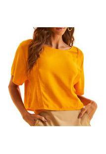 Camiseta Linho Forum Reta Laranja Feminina