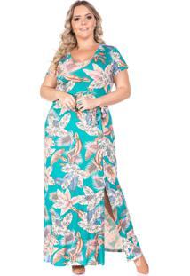 Vestido Domenica Solazzo Longo Folhagem Plus Size