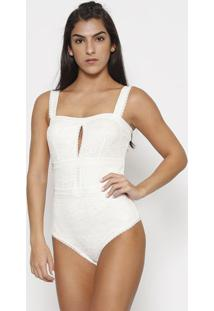 Body Em Renda Com Elã¡Stico Com Lycraâ®- Off White- Vavalisere