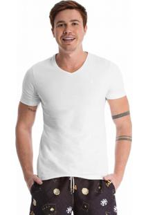 Camiseta Mic Fun Gola V Branca