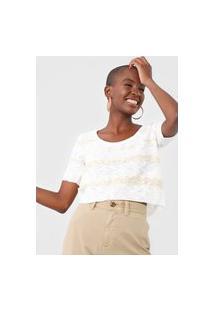 Blusa Cropped Tricot Maria Filó Listrada Branca