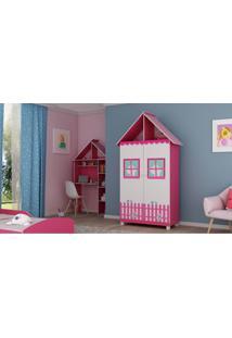 Guarda Roupa Casinha 2 Portas C/ Pés Pink Ploc Com Branco Acetinado Gelius Móveis - Tricae