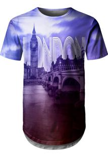 Camiseta Longline Over Fame Londres Roxa