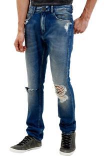 Calça John John Slim Havana Jeans Azul Masculina (Jeans Medio, 46)