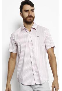 Camisa Slim Fit Listrada - Branca & Vermelhaogochi