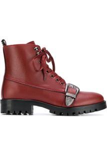 Trussardi Jeans Ankle Boot Com Fivela - Vermelho