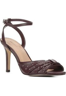 Sandália Couro Shoestock Laço Metais Salto Alto Feminina - Feminino-Vinho