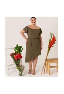Vestido Ombro A Ombro Com Barra Assimétrica Curve & Plus Size   Ashua Curve E Plus Size   Verde   Gg