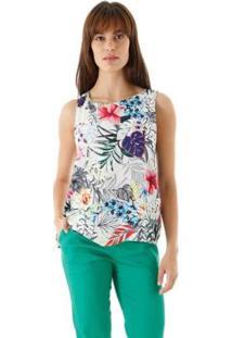 Blusa Aha Floral Alças Cruzadas Feminino - Feminino-Off White+Azul