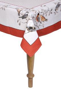Toalha De Mesa Retangular Karsten Cada Dia Libertã© 100X140Cm Bege/Vermelha - Bege - Dafiti