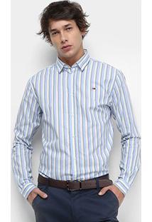 Camisa Manga Longa Tommy Jeans Listrada Essential Stripe Shirt Masculina - Masculino-Listrado