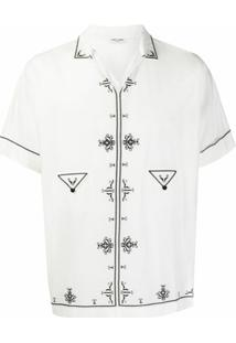 Saint Laurent Túnica Com Bordado - Branco