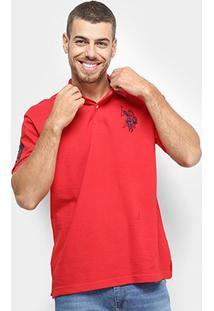 Camisa Polo U.S. Polo Assn Lisa Big Poney Masculina - Masculino-Vermelho