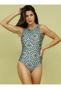Body Floral Com Botã£O- Verde & Azul- Livellemos Beach Wear