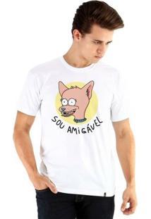 Camiseta Ouroboros Manga Curta Sou Amigável - Masculino-Branco