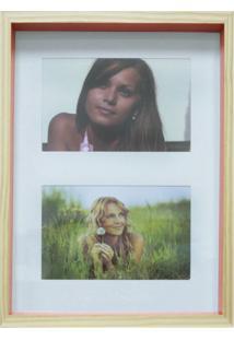Quadro Para Fotos Wood Natural E Laranja 20X30Cm