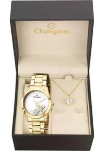 Kit Relógio Champion Elegance Com Colar+Brincos Feminino - Feminino-Dourado