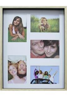 Painel Retangular Para Fotos Kapos Wood Em Madeira 30 X 40 Cm - Preto/Pink