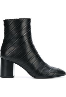 Sonia Rykiel Ankle Boot Listrada De Couro - Preto