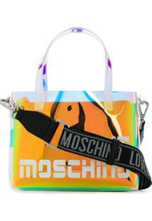 Love Moschino Mini Iridescent Logo-Print Tote - Preto