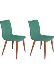 Conjunto Com 2 Cadeiras Luanda Veludo Verde
