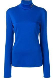 Calvin Klein Blusa De Tricô Com Gola Alta - Azul