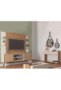 Conjunto Home Stilo Com Mesa E Aparador Milão - Amêndoa/Off White