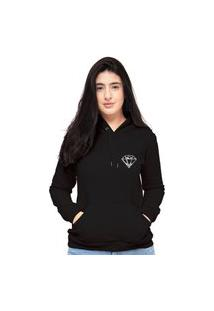 Blusa Moletom Feminino Preto Mini Diamante