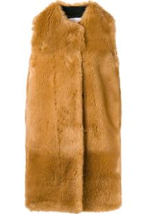 Msgm Faux Fur Long Gilet - Marrom