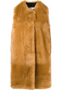 Msgm Faux Fur Long Gilet - Marrom