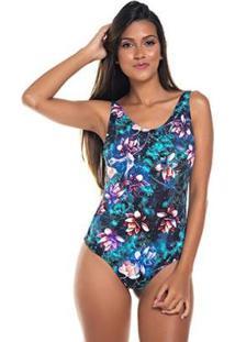Maiô Trituê Body Floral Alça Fixa Feminino - Feminino-Azul