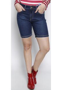 Bermuda Jeans Com Bolsos - Azul Escuromiss Bella