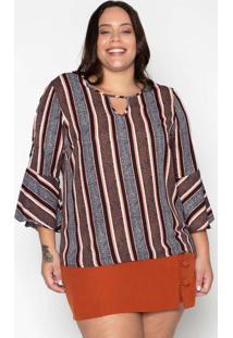 Blusa Almaria Plus Size Leeban Crepe Estampado Ros