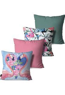 Kit Com 4 Capas Para Almofadas Pump Up Decorativas Rosa Love Flamingos E Flores 45X45Cm