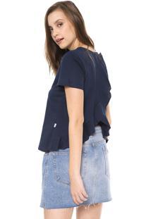 Camiseta Triton Babados Azul-Marinho