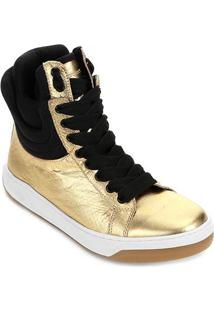 Tênis Cano Alto Hardcorefootwear Acolchoado Feminino - Feminino-Ouro