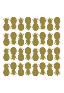 Adesivo De Parede Abacaxis Dourados 91Un
