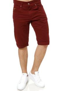 Bermuda Jeans Masculina Bivik Vinho
