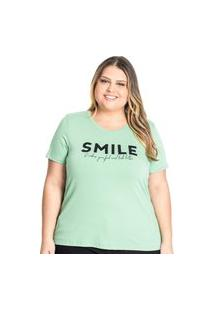 Blusa Feminina Plus Size Rovitex Smile Verde Claro