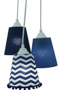 Lustre Pendente Luminária Tecido Azul Marinho E Branco Com Pompom